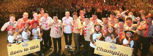 BERGENGSI. Riuhnya suasana di babak grand final East Java Scout Challenge 2K15